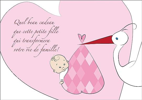 Fabuleux Mignonne Carte de bébé (fille), carte de félicitations pour la  PG37