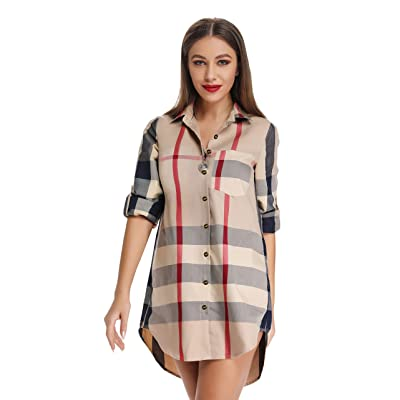 Acloth Women's Plaid Button Down Shirts Roll-up Sleeve Blouses Loose Fit Tops with Pocket at Amazon Women's Clothing store