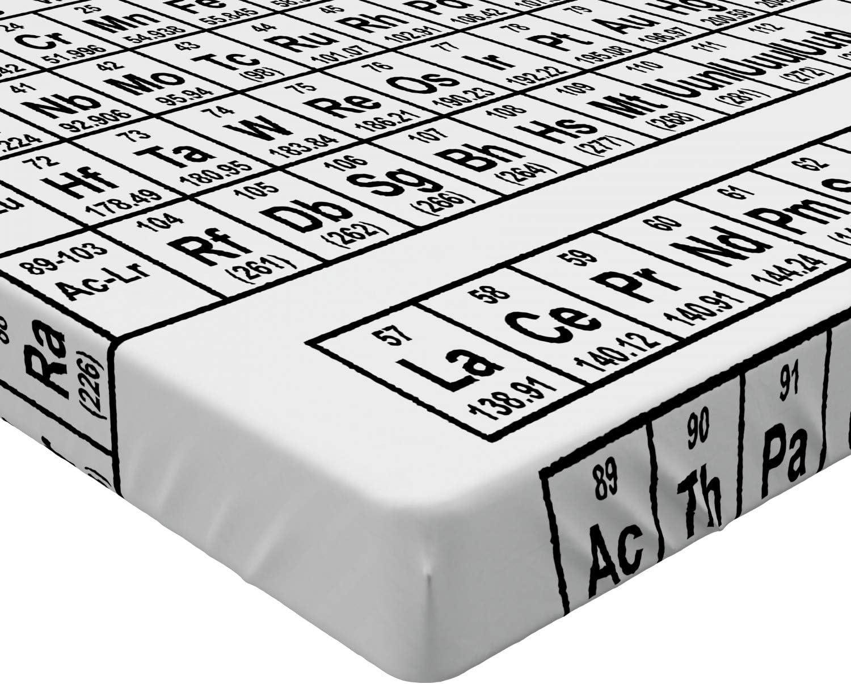 90 x 200 cm En Blanco y Negro ABAKUHAUS Tabla peri/ódica S/ábana Elastizada Ciencia Monocromo Suave Tela Decorativa Estampada El/ástico en el Borde