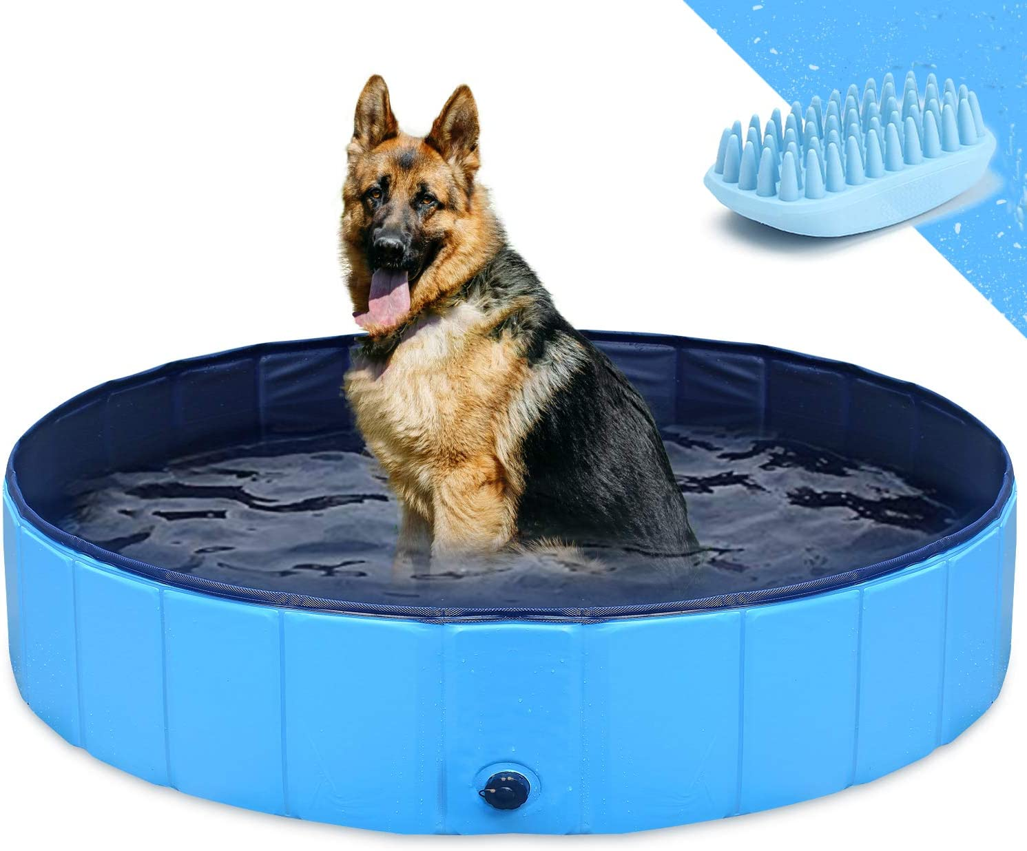 Gostock Dog Pool For Large Dogs Folding Kiddie Pool Pet Pools For Dogs Collapsible Pool For Dogs L 48 X12 Inch Pet Supplies