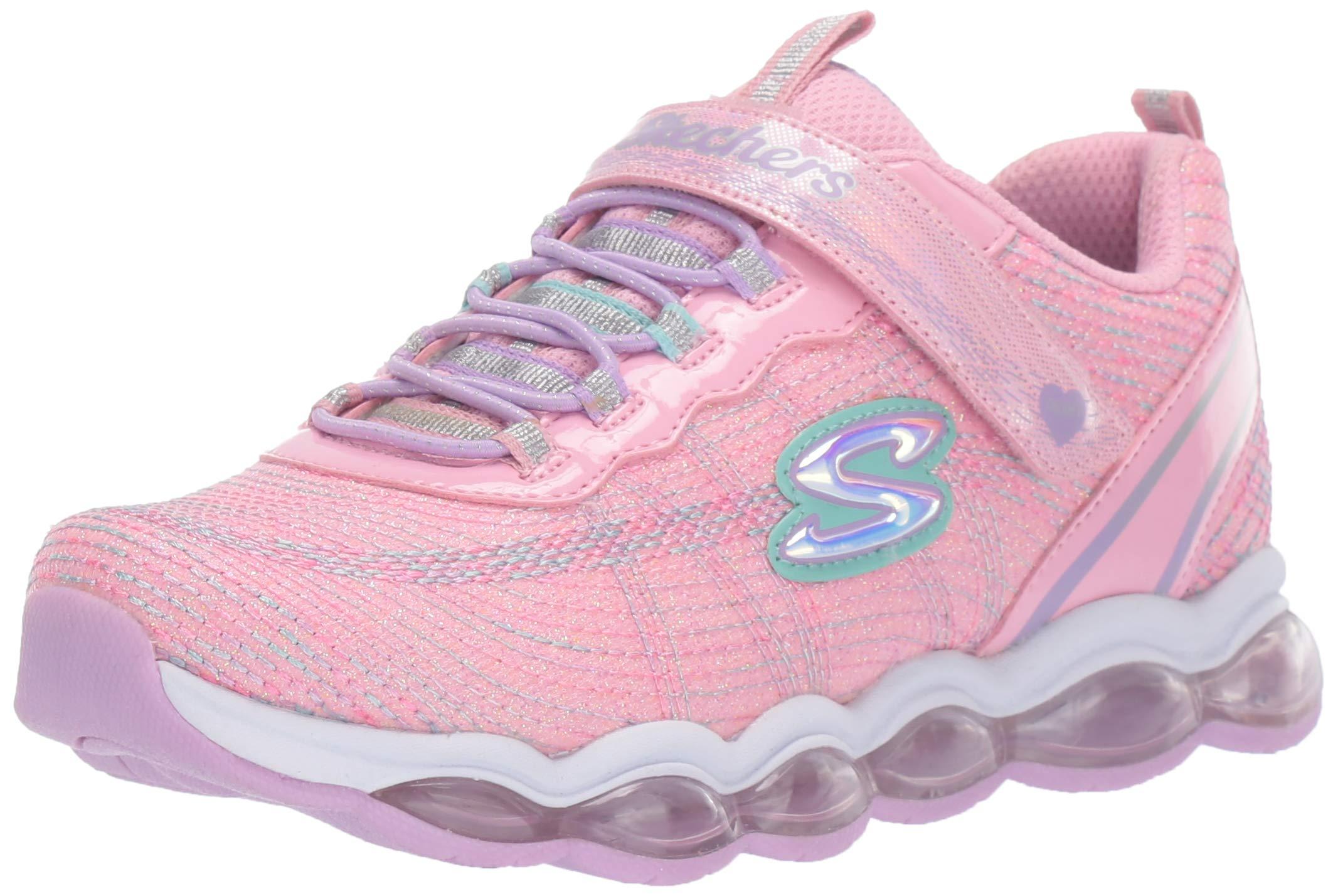 Skechers Kids Girls' Glimmer Sneaker, Light Pink/Multi, 2 Medium US Little Kid