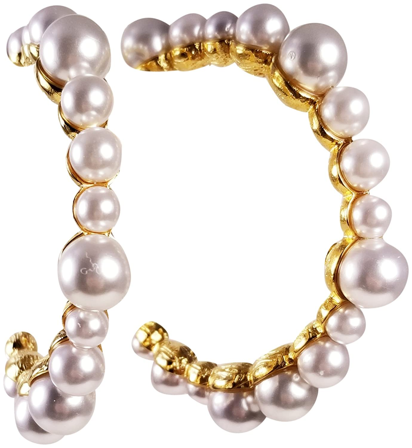 "KENNETH JAY LANE, MULTI PEARL GOLD HOOP EARRING, 2.5"" INCHES"