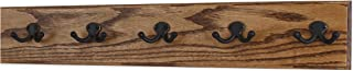 """product image for Oak Wall Mounted Coat Rack with Aged Bronze Dual Style Hooks 4.5"""" Ultra Wide (Chestnut, 25.5"""" x 4.5"""" with 5 Hooks)"""