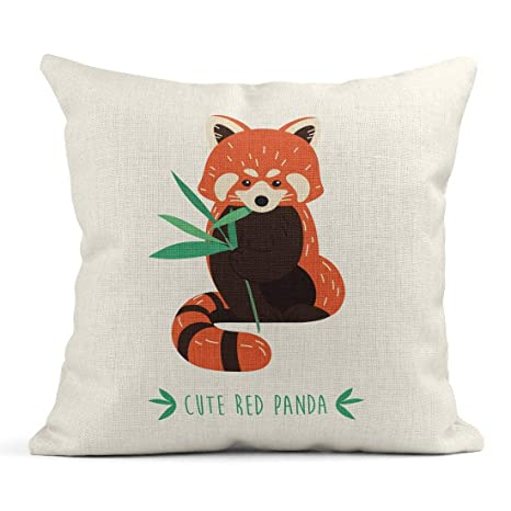 Kinhevao Cojín Marrón Animal Lindo Panda Rojo Naranja ...