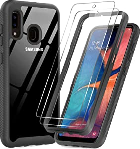 LeYi Samsung A20 Case, Samsung Galaxy A20 Case with Tempered Glass Screen Protector [2 Pack], Full Body Protective Hybrid Rugged Clear Bumper Shockproof Phone Cover Case for Galaxy A20, Black