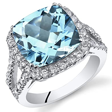 6 25 Carats Cushion Cut Swiss Blue Topaz Ring Sterling Silver Sizes 5 To 9