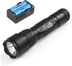 UltraFire Single Mode Handheld Flashlight WF-502B, XP-E V6 LED, Super Power 1000 Lumens hwawys led Flashlights Small Pocket Torch (with 18650 battery and charger)