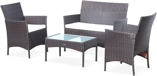 Alices Garden - Muebles de Jardin, Conjunto Sofa de Exterior, Resina Trenzada, Marron Crudo, 4 plazas: Amazon.es: Jardín