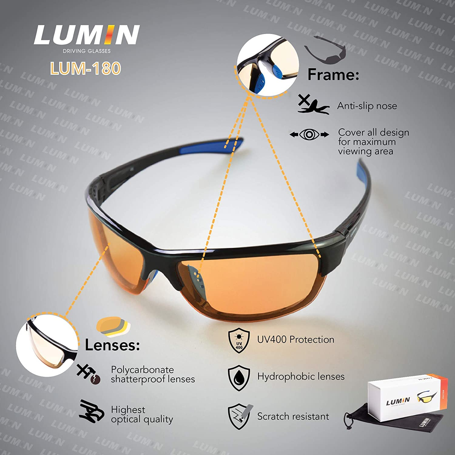 4b1cf85f890 Lumin Night Driving Glasses VECTOR - All-Weather Glasses for Rain ...