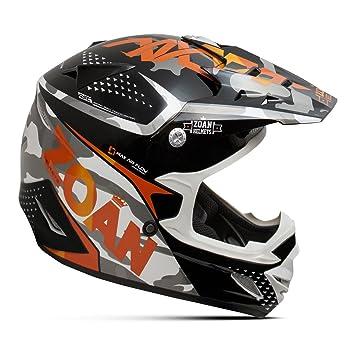Zoan MX-1 Sniper negro naranja Offroad Motocross Motocicleta Casco de equitación, tamaño mediano