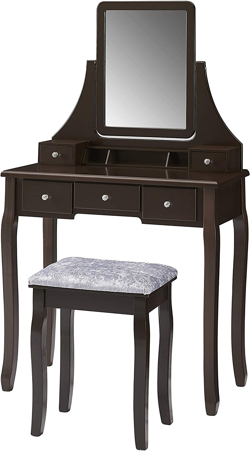 Amazon Com Halter Vanity Table With Adjustable Mirror And Upholstered Stool Set Makeup Organizer And Dressing Table For Bedroom Brown Kitchen Dining
