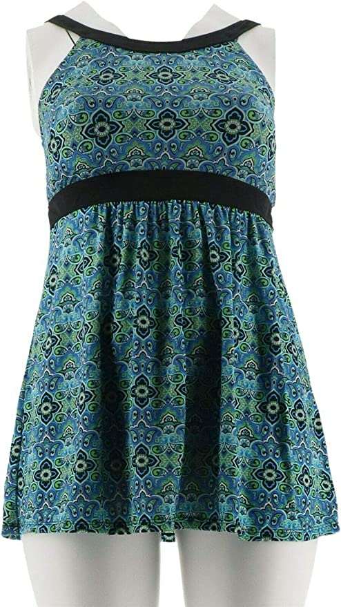 Fit 4 U Hi Neck Dresskini Swimsuit Brief Blue 26W NEW A304230