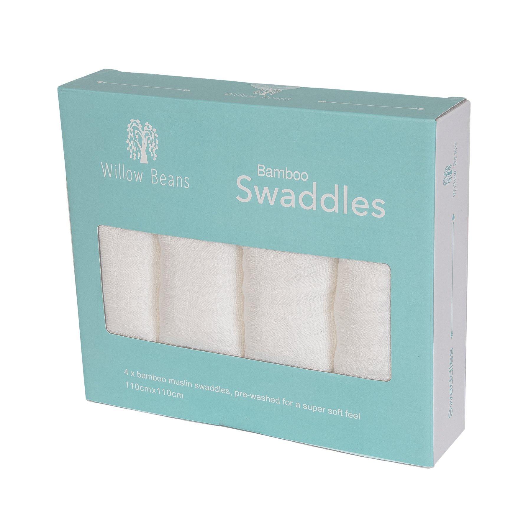 Willow Beans Baby Bamboo Swaddle Blankets, Pack of 4