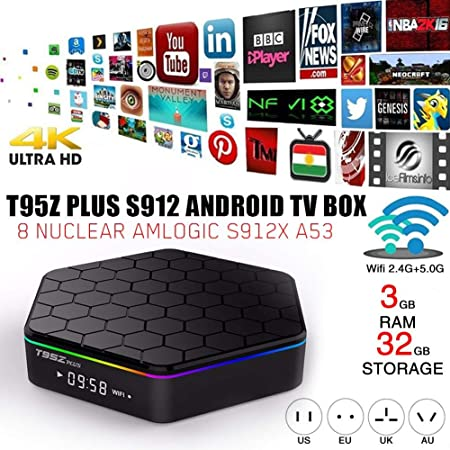 LLDHWX T95Z Plus S912 Android TV Box 7.1, decodificador de TV 3G / 32GB Wi-Fi de Doble núcleo 2.4/5.8G Smart TV Box Bluetooth 4.0 Reproductor de Red: Amazon.es: Hogar