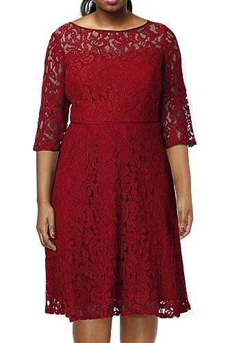 Nemidor Women's Illusion lace Half Sleeve Midi Plus Size Cocktail Dress