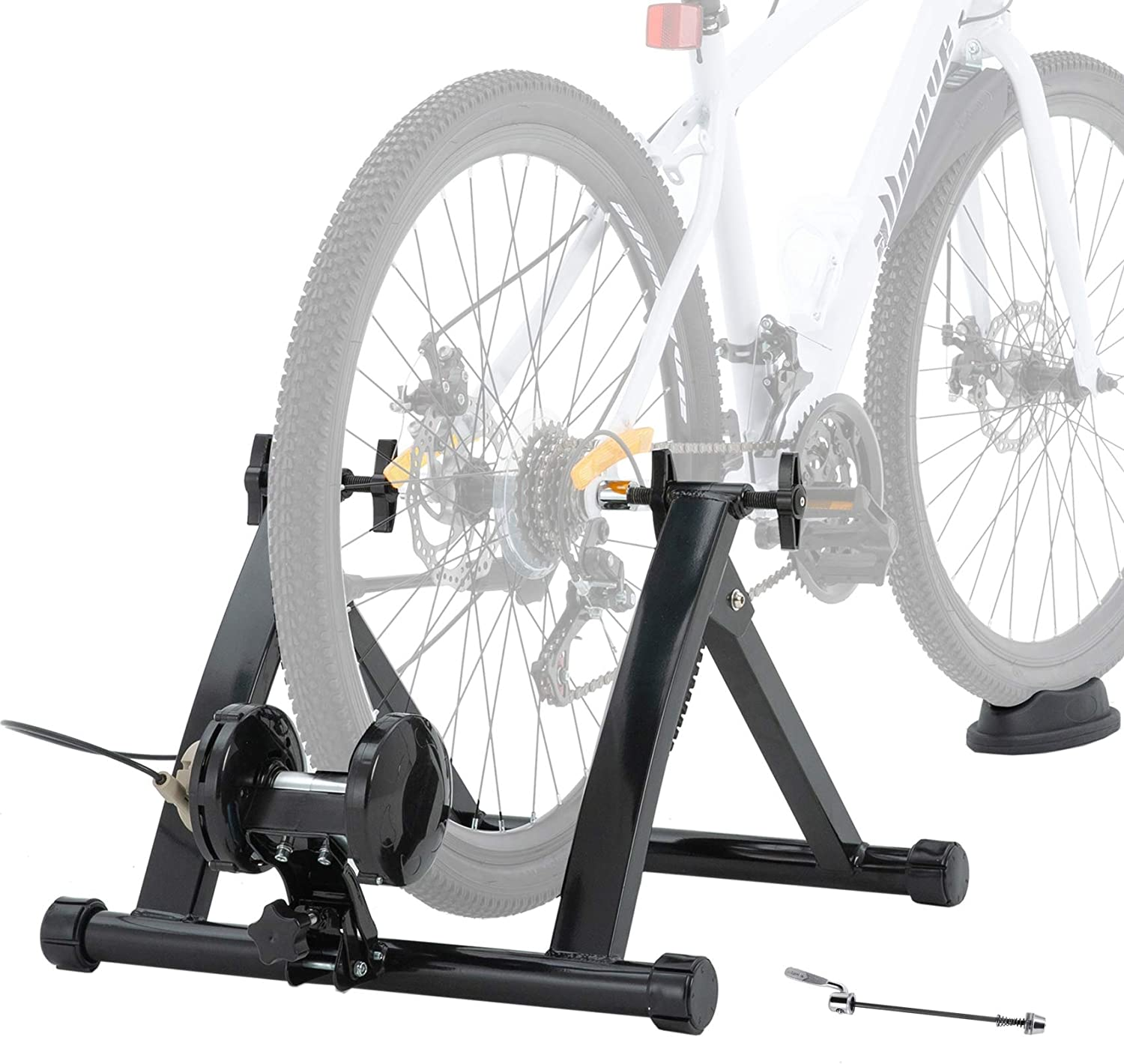 Walmann Bike Trainer Stand for Indoor Riding Magnetic Resistance Trainer 6 Variable Speed Level with Front Wheel Riser Block and Quick Release Stationary Bike Stand for Road & Mountain Bikes