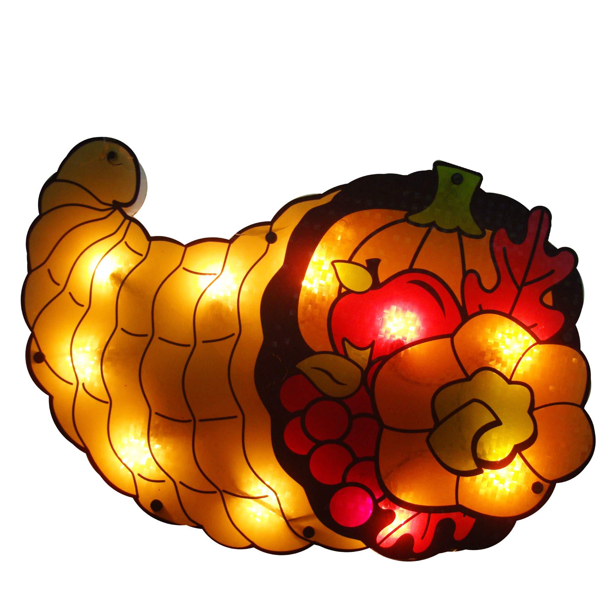 Northlight 20'' Lighted Cornucopia Thanksgiving Window Silhouette Decoration