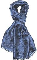 LORENZO CANA Luxus Seidenschal Schal Damast gewebt Herrenschal Seide floral Paisley Seidentuch Luxustuch Mittelblau Blau 55 x 190 cm 8915911