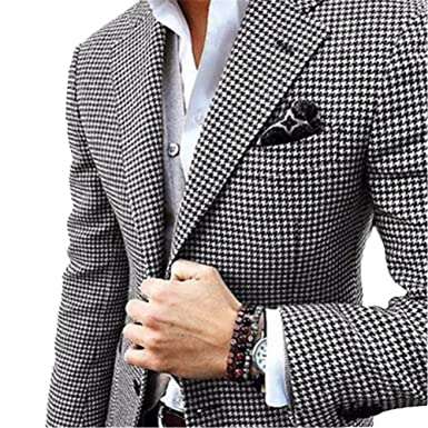 Onlylover Slim Fit Blazer For Men Black White Floral Pattern Two Custom Mens Blazer Pattern