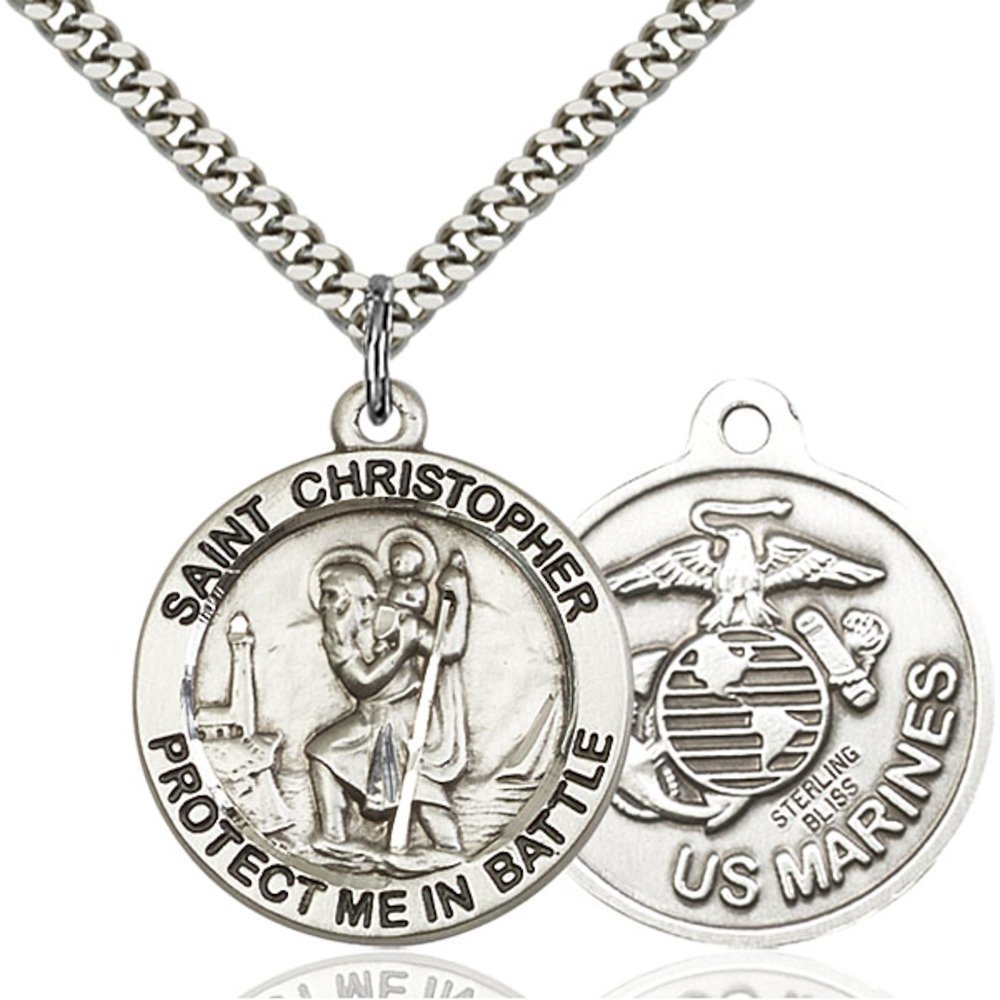 Sterling Silver St. Christopher Pendant 1 X 1 5/8 inches with Heavy Curb Chain