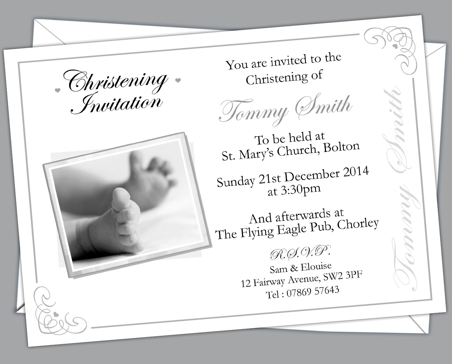 Baptism Invitations Pack of 100 Design Code: CBG 015 Personalised Christening