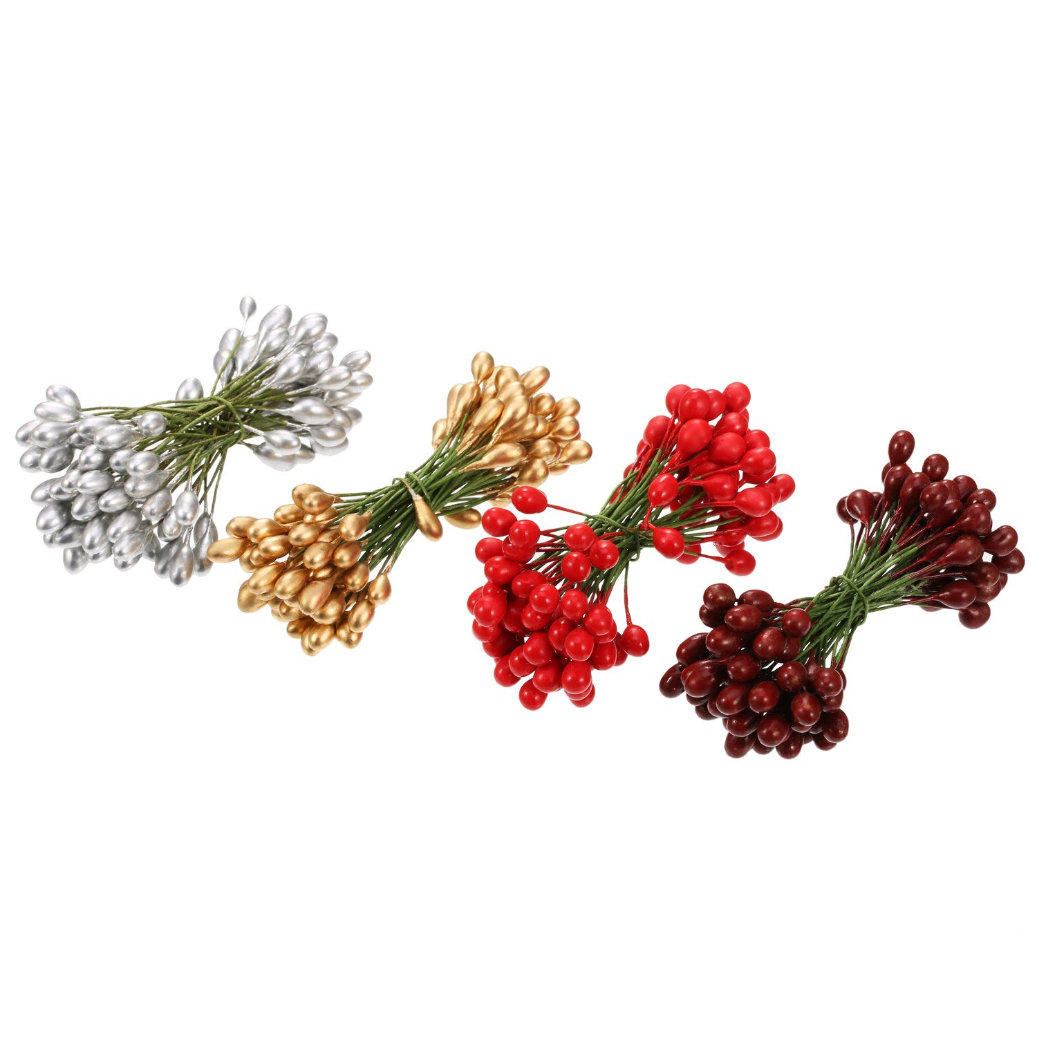 BBTO Artificial Holly Berries Gold 100 Pieces Mini 10 mm Fake Berries Decor on Wire for Christmas Tree Decorations Flower Wreath DIY Craft Use