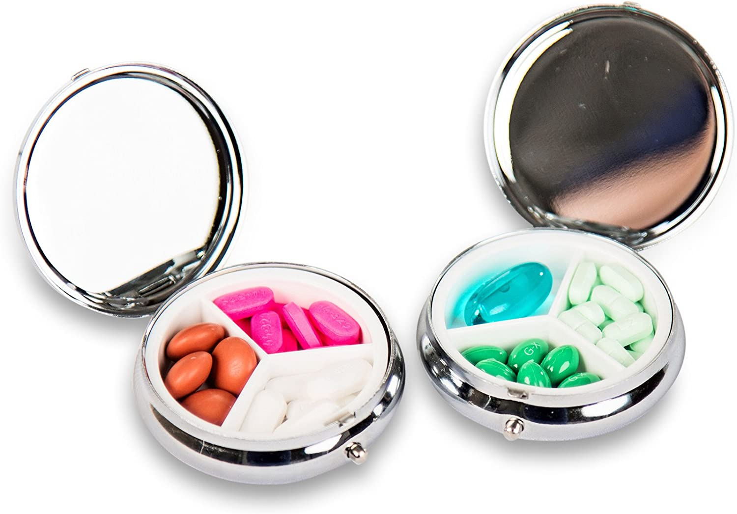 Square Pill box White 4065 Pill Case for purse Words of Wisdom 4 Sections Black Inspiration Pill case Learn Live Hope Pill box