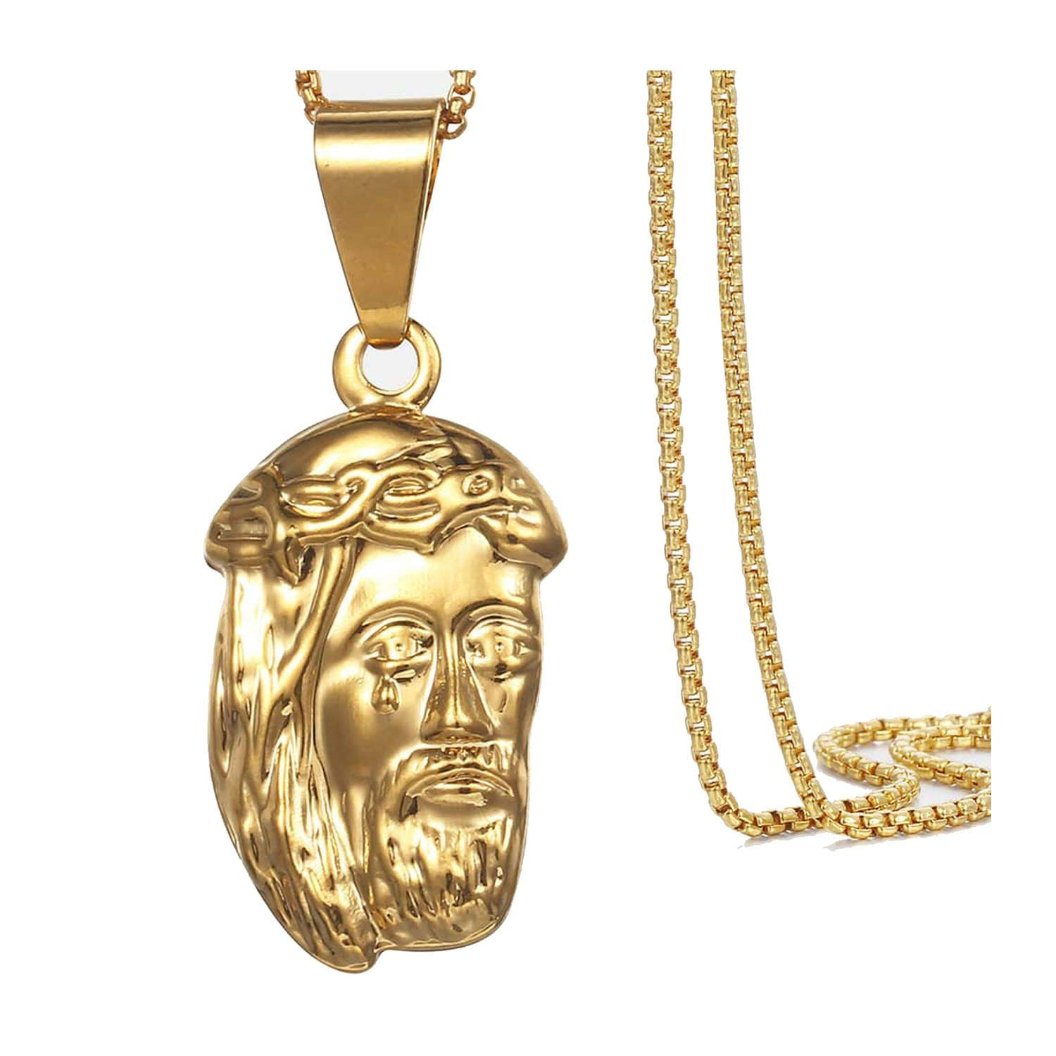 Womens Necklace Jesus Pendant Yellow Gold Filled Box Chain Necklace for Men Women 45cm 50cm Hollow,with 50cm Chain