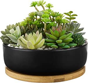 MyGift 8 Inch Matte Black Ceramic Round Succulent Flower Herbs Tabletop Garden Planter Pot with Bamboo Saucer Tray