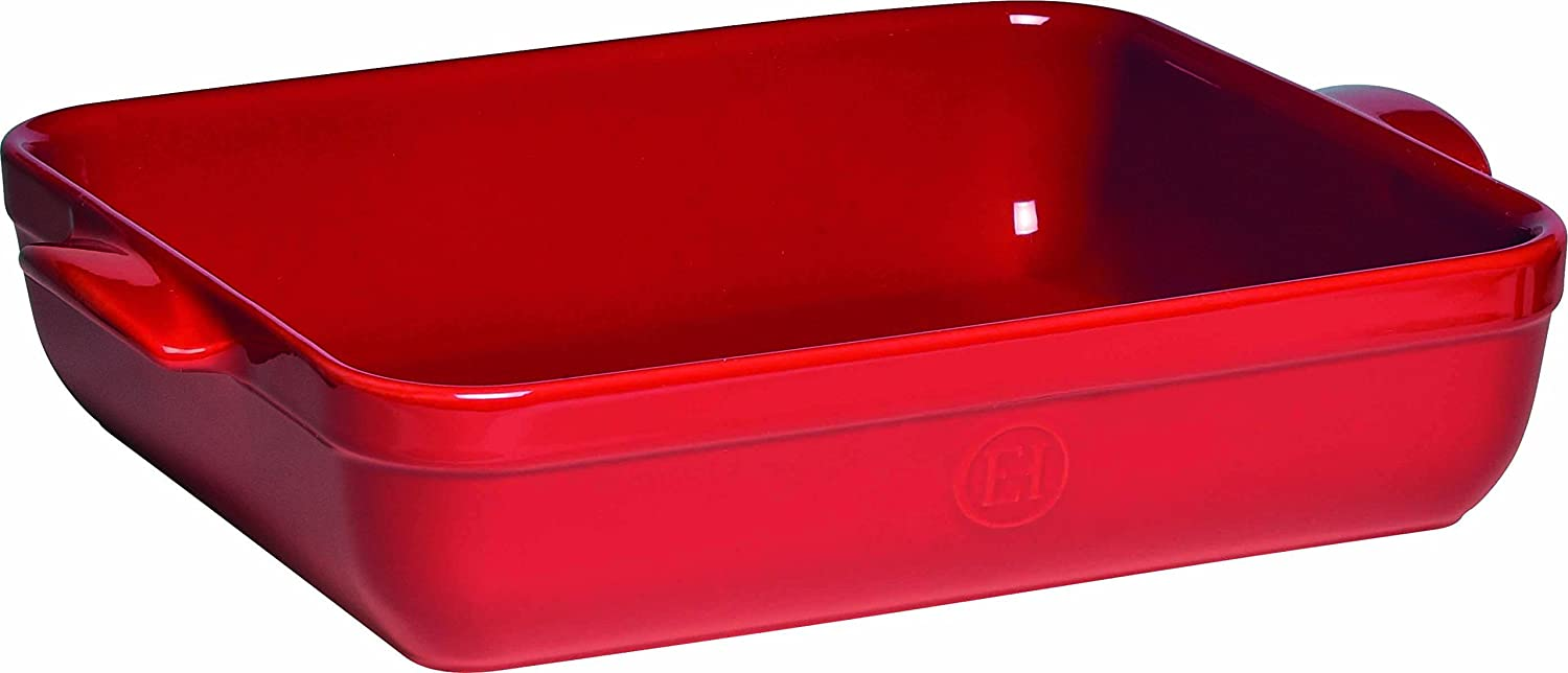"""Emile Henry Made In France Lasagna/Roasting Dish 16.75"""" x 11""""x 3"""" Burgundy Red"""