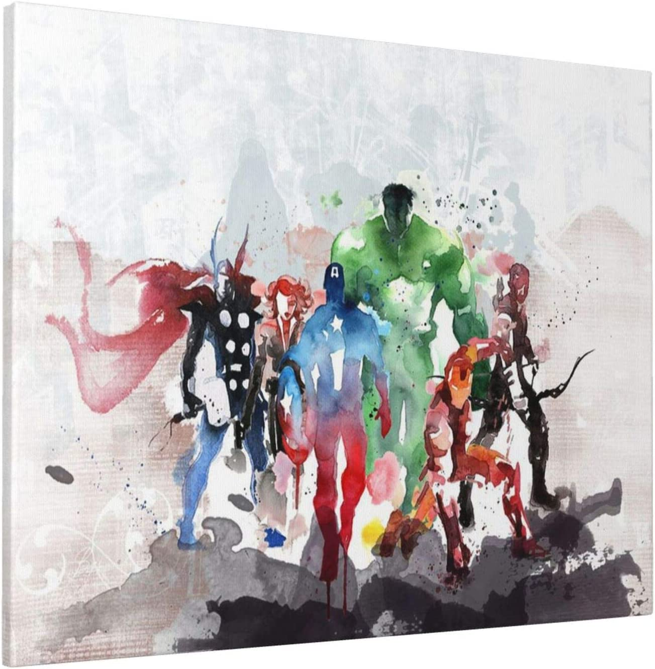 LP ART Canvas Print Wall Art Watercolor Super Heroes Collage Picture Painting for Living Room Bedroom Modern Home Decor Ready to Hang Stretched and Framed Artwork 16'x20'