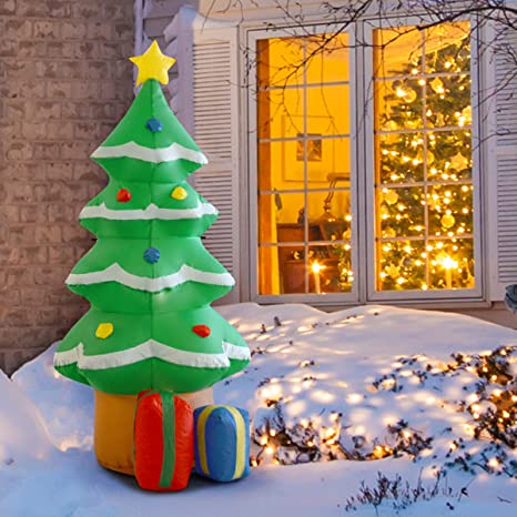 Inflatable Christmas Decorations.Tangkula 4 Ft Inflatable Christmas Tree Xmas Inflatable Tree Air Blown Christmas Tree Indoor Outdoor Airblown Yard Holiday Decorations Colorful
