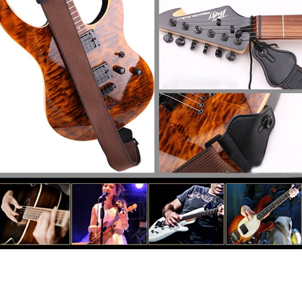basse et ukul/él/é marron Sangle de guitare en coton et peau de vache r/églable avec 3 emplacements pour guitare /électro-acoustique et classique