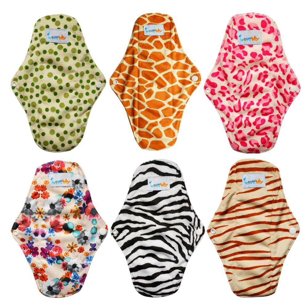 Love My Antibacterial Bamboo fiber Mama Cloth/ Menstrual Pads/ Reusable/ Panty Liners - 6pcs pack(LM1)