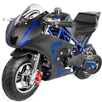 Review XtremepowerUS 40CC 4-Stroke Gas Power Mini Pocket Motorcycle Ride-on (Blue)