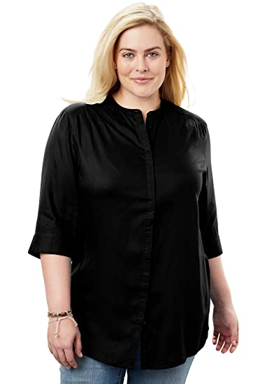 7a5ab316869ea9 Woman Within Women's Plus Size Mandarin Tunic Button Down Shirt - Black,  14/16 at Amazon Women's Clothing store: