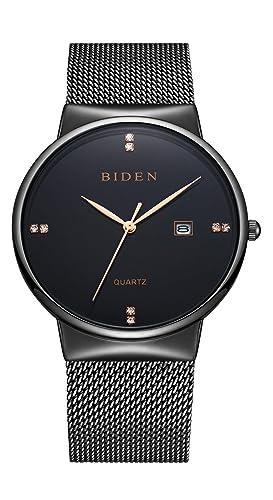 31f659710d416 binzi Quartz Montre Bracelet Ultra Fine Noir et Or minimaliste Design  intemporel Montres Homme Montres Femme