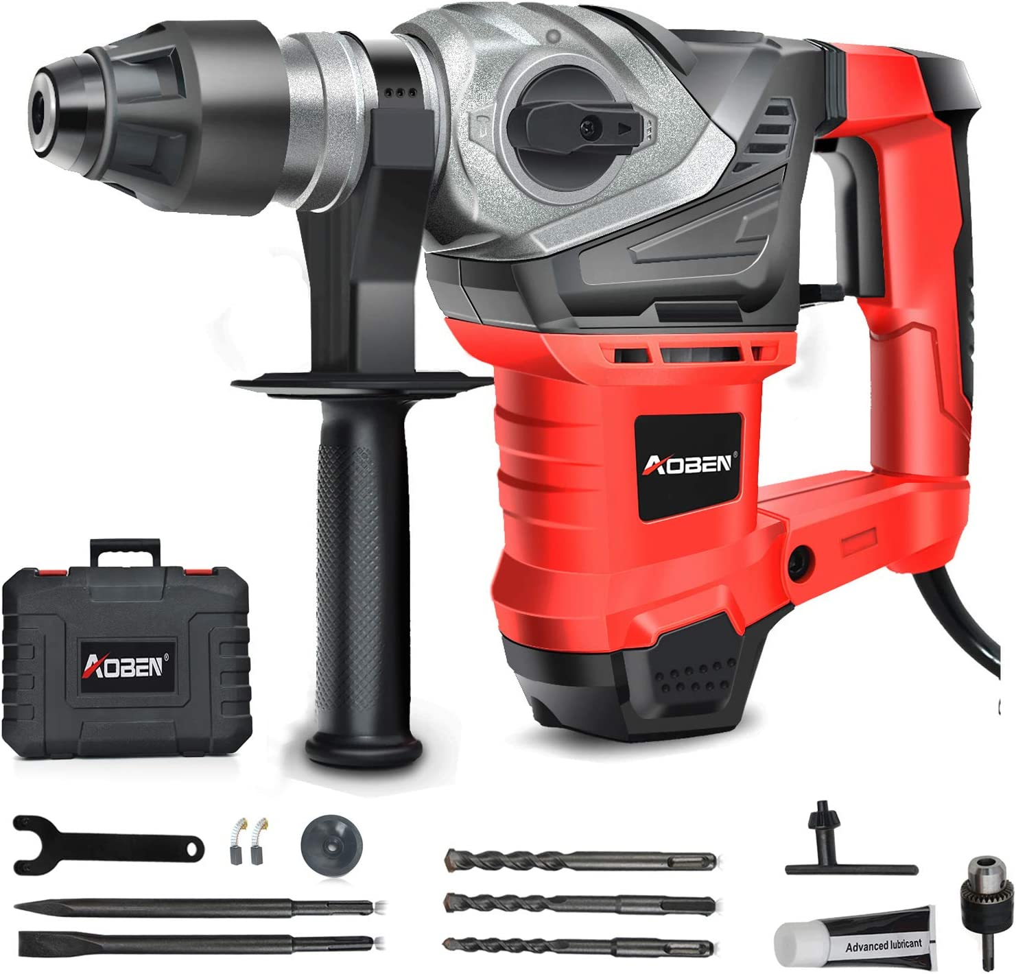 AOBEN SDS-Plus Rotary Hammer Drill with Vibration Control and Safety Clutch,13 Amp Heavy Duty Demolition Hammer for Concrete-Including 3 Drill Bits,Flat Chisels, Point Chisels, Drill Chuck and Gre