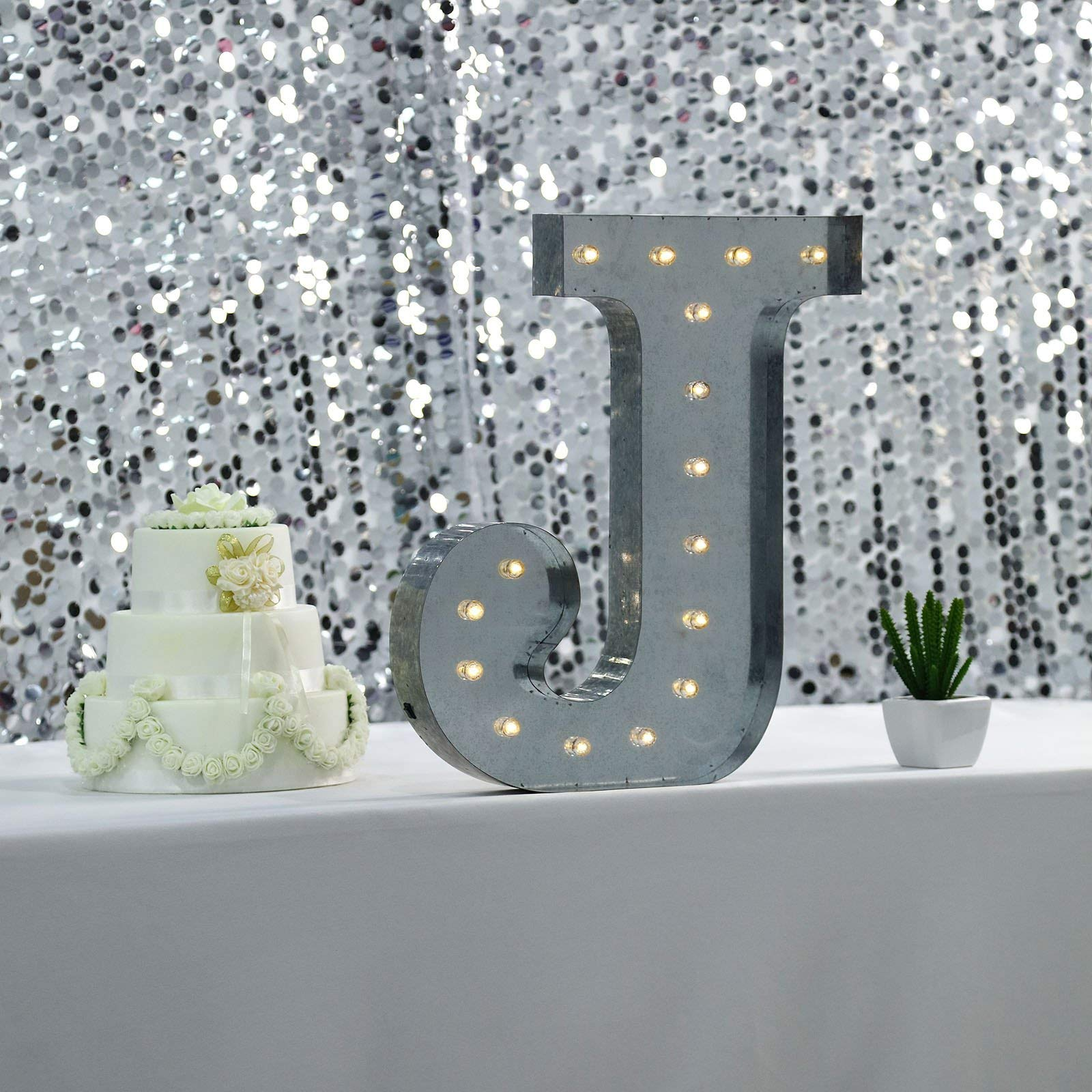 Tableclothsfactory 2 FT | Vintage Metal Marquee Letter Lights Cordless with 16 Warm White LED - J by Tableclothsfactory