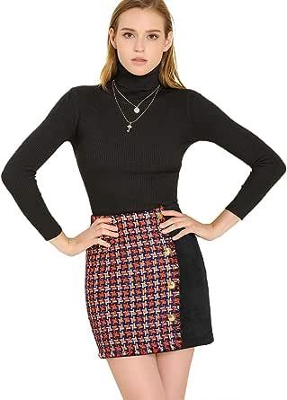 Allegra K Minifalda Corta Casual A Cuadros Gamuza Sintética Brillante para Mujer