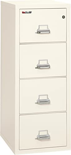 FireKing Fireproof Vertical File Cabinet 4 Legal Sized Drawers, Impact Resistant, Water Resistant , 52.25 H x 20.81 W x 25.06 D, Ivory White
