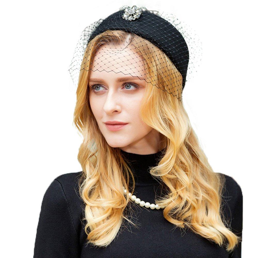 Womens Wool Pillbox Hat with Veil Vintage Fascinator Hat Ladies Formal Wedding Hats Winter Felt Hat