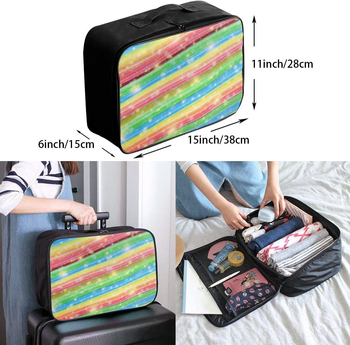 Multicolored Rainbow Marble Lightweight LargeTravel Storage Luggage Trolley Bag Travel Duffel Bags Carry-On Tote