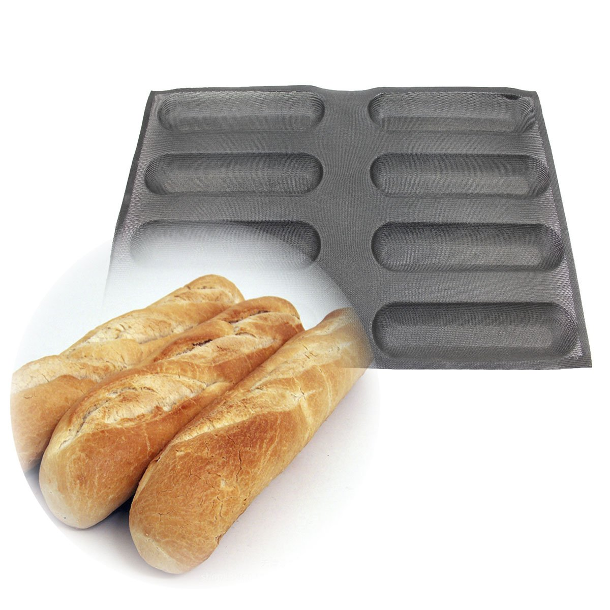 Baker Boutique 8 Loafs Silicone Baking Bread Molds Black Square Flexible Reusable Non Stick Molding Safe