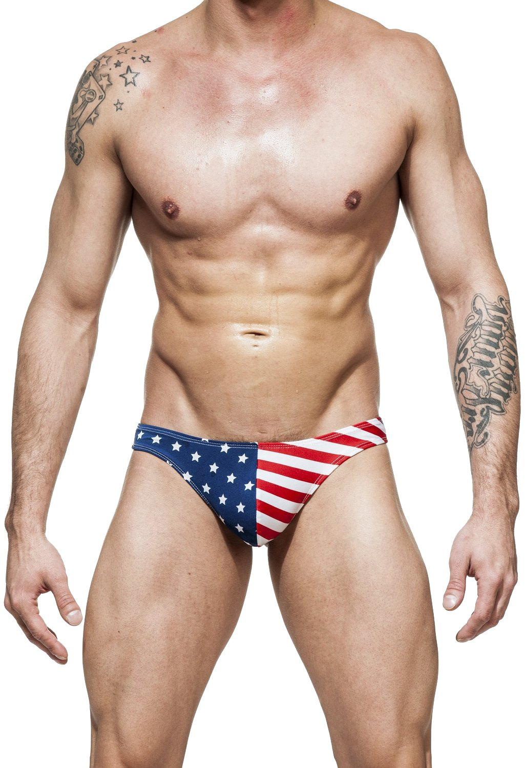 Men's USA American Flag Thong Swimsuit By Gary Majdell Sport Stars and Stripes Medium