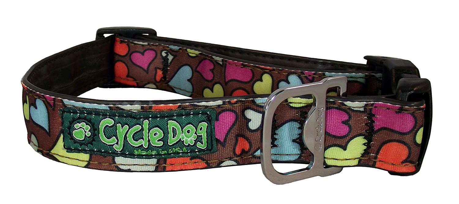 Large Cycle Dog Bottle Opener Recycled Dog Collar, Brown, Base Hearts, Large