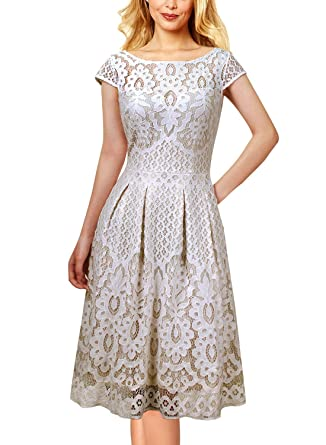 215efe2fb2e6 VFSHOW Womens Floral Lace Pockets Pleated Cocktail Party Skater A-Line Dress  1623 WHT XS