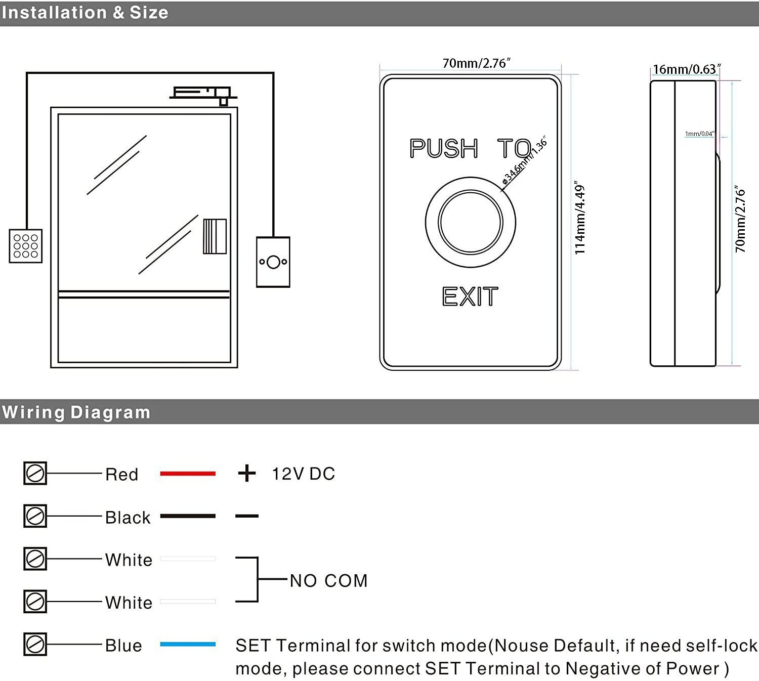 Piezoelectric Release Out Unlock Push To Exit Button Switch Sensor W/ Led Light  Camera & Photo
