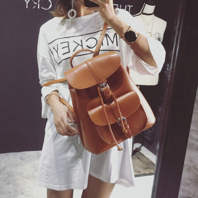 Womens Drawstring PU Leather Backpack School bags Teenage Girls Backpacks,Gray