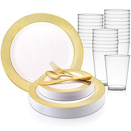 Amazoncom Disposable Plastic Dinnerware Set For 60 Guests